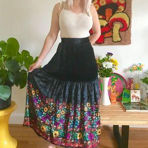 Vintage 60s 70s black velvet hippie skirt